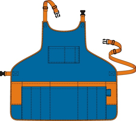 Apron with a shoulder strap, a belt and pockets Vector