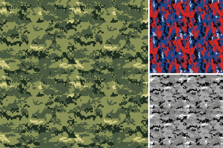 Three types of drawing of a fabric for a camouflage Vector