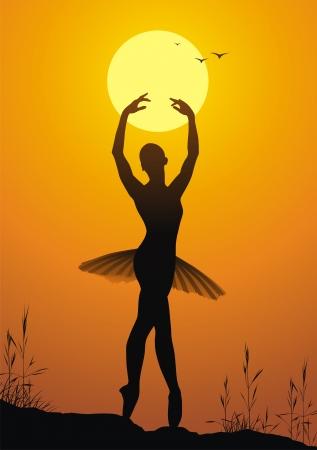 예행 연습: The ballerina girl dances against a sunset 일러스트