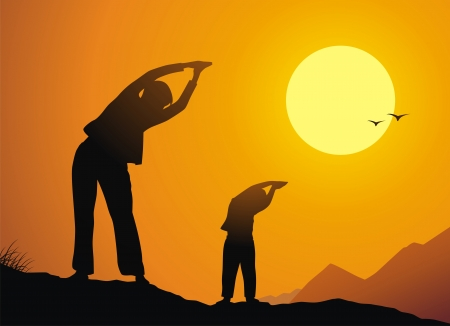 Mother with the daughter are engaged in a charging against a sunset Vector