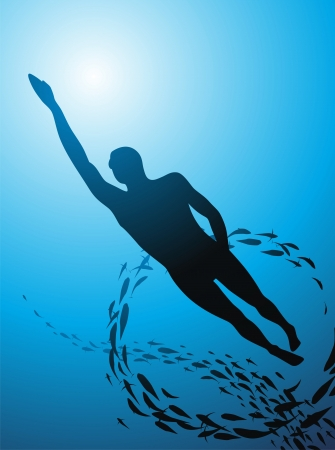 man underwater: The man floats under water against the sun