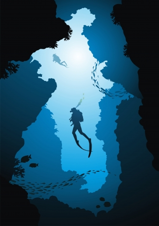Divers rise from a crevice against the sun