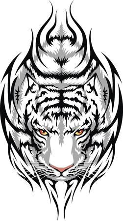 tigre blanc: La tête d'un tigre blanc est stylisée sous la forme d'un tatouage