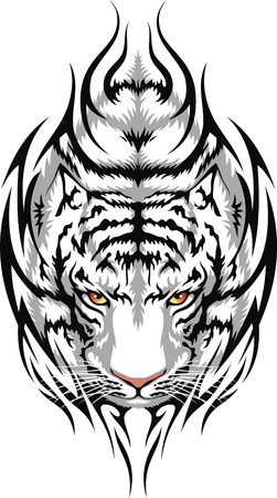The head of a white tiger is stylized in the form of a tattoo