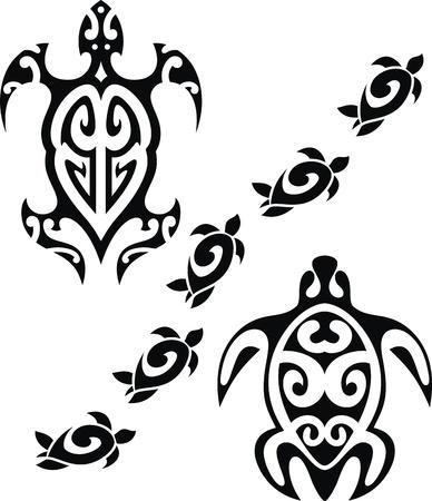schildkroete: Das Bild der stilisierten Schildkr�ten in der Form einer T�towierung Illustration