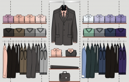merchandising: The clothes for men are hanged out on the shop display Illustration