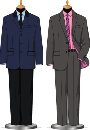 clothing rack: Dummies show a set of men business wear Illustration