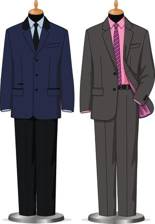 coat rack: Dummies show a set of men business wear Illustration