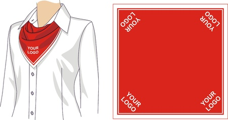 neck scarf: Scarf sample with a logo for the woman Illustration