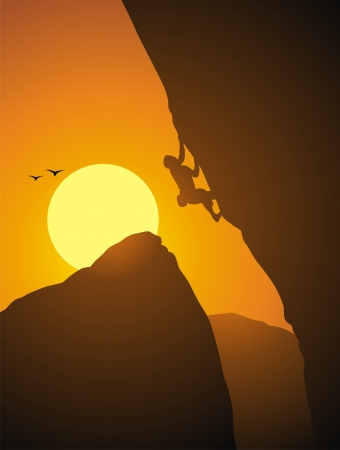 The rock-climber rises on the rock on a rope Stock Vector - 16301597