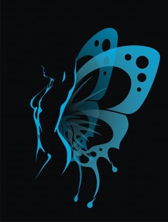 mariposa azul: La chica con las alas transparentes de una mariposa se sienta Vectores