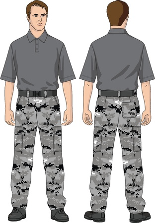 The suit for the man consists of trousers and a T-shirt