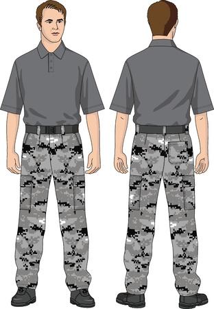 Het pak van de man bestaat uit broek en een T-shirt