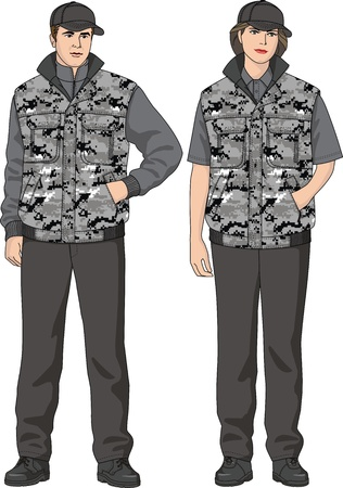 Camouflage waistcoat for the man and the woman Stock Vector - 16301609