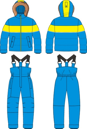 The suit for the child consists of a jacket and overalls Stock Vector - 16301631