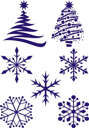firtrees: Different types of snowflakes and fir-trees for new year