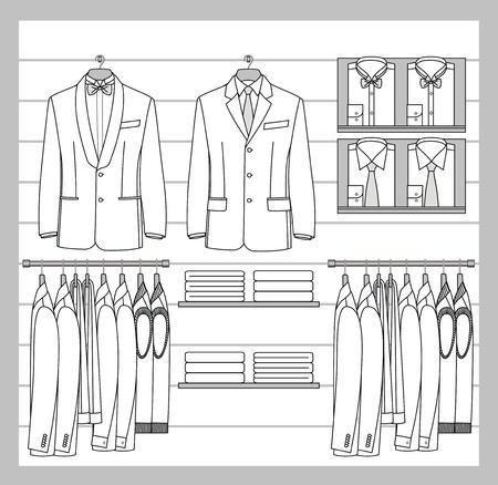 ahorcada: La ropa para los hombres se colgaron hacia fuera en la exhibición de la tienda