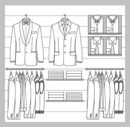 shirts on hangers: The clothes for men are hanged out on the shop display Illustration