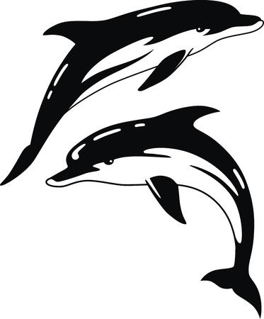 tail fin: Dos delfines en la forma de un tatuaje