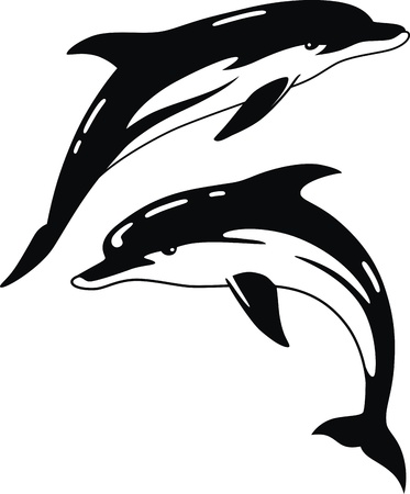 dolphin fish: Two dolphins in the form of a tattoo