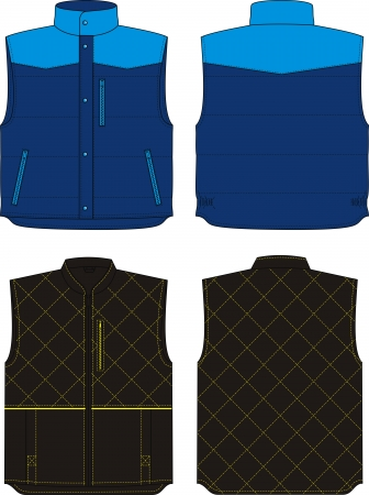 Two options of the warmed vests for men Stock Vector - 18218260