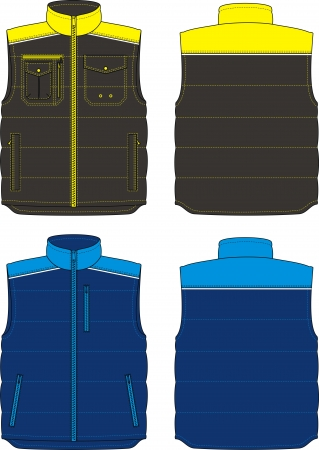 Two options of the warmed vests for men Stock Vector - 18218257