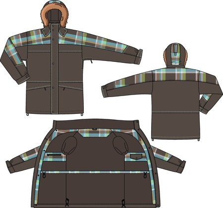 back belt: Jacket winter with a hood and from checkered fabric