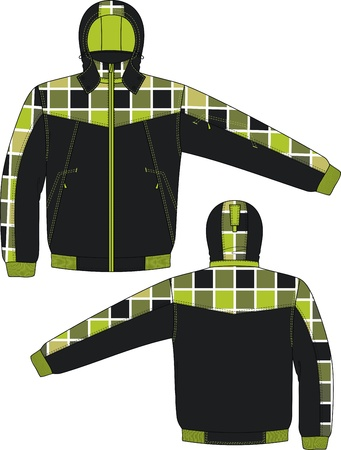 warmed: Jacket winter with a hood and from checkered fabric