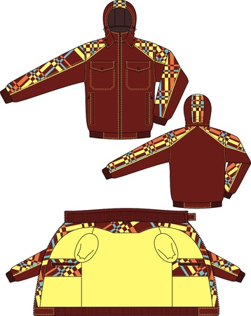 Jacket winter with a hood and from checkered fabric Stock Vector - 18218286