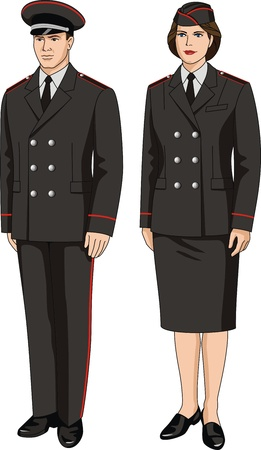 skirt suit: Suit special uniform for men and women Illustration