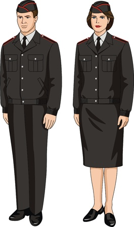 elastic band: Suit special uniform for men and women Illustration
