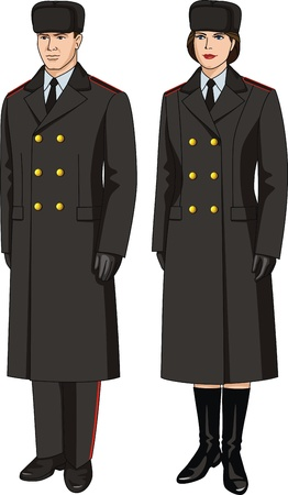 woman fur: Coat special uniform for men and women Illustration