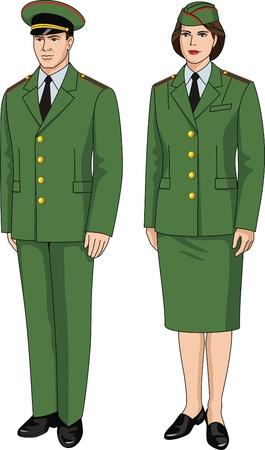 Pak speciaal uniform voor mannen en vrouwen Stock Illustratie