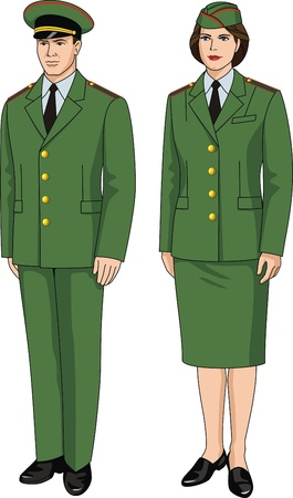uniform skirt: Suit special uniform for men and women Illustration
