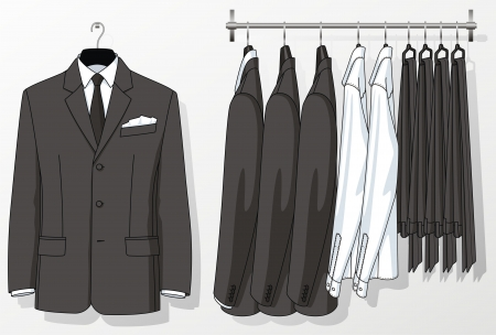 The suit for the man hangs on a hanger Vector