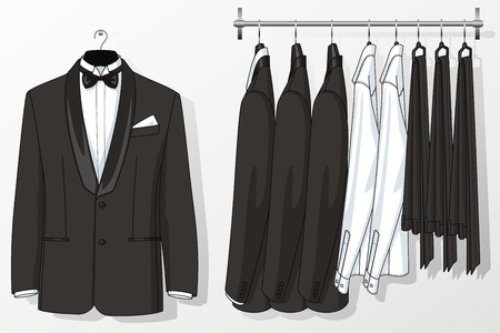 男性のスーツ ハンガーにハングアップします。