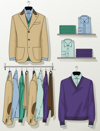The suit for the man hangs on a hanger Stock Vector - 19489980