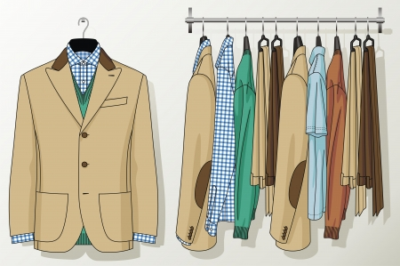 merchandising: The suit for the man hangs on a hanger Illustration
