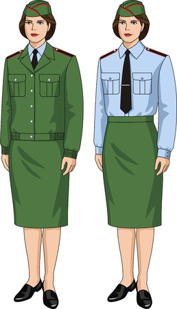 The suit special for the woman consists jackets, shirts and skirts Vector