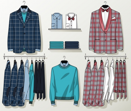 lapel: The suit for the man hangs on a hanger Illustration