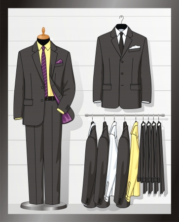 suit  cuff: The suit for the man hangs on a hanger Illustration