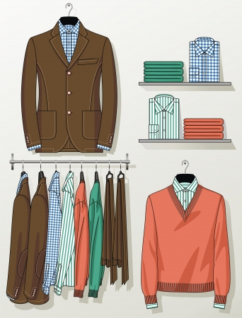 cuffs: The suit for the man hangs on a hanger Illustration