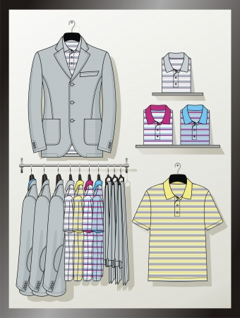 elbow band: The suit for the man hangs on a hanger Illustration