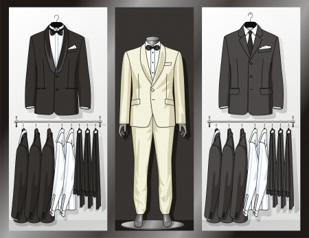 Shop show-window with clothes for the businessman Vector