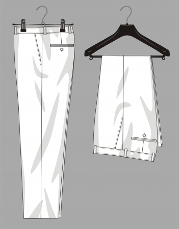 tuck: Trousers for the man hang on a hanger