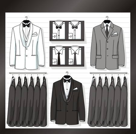 coat hanger: In a show-window of shop the business clothes for men are placed