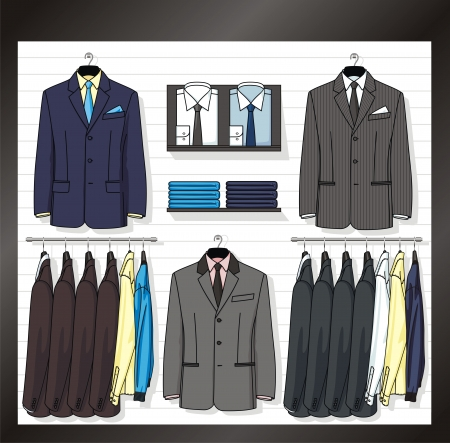In a show-window of shop the business clothes for men are placed Vector