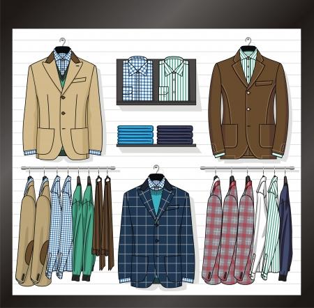 In een show-venster van winkel de zakelijke kleding voor mannen worden geplaatst