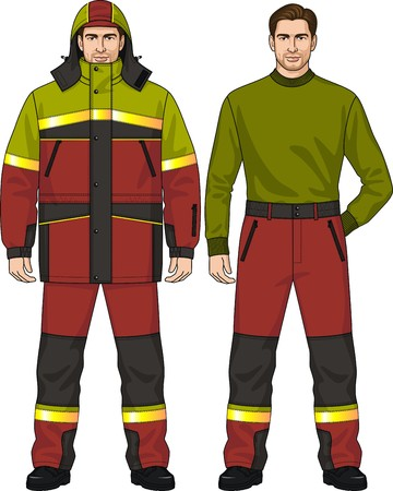 warmed: The suit for the man consists of the warmed jacket and trousers Illustration