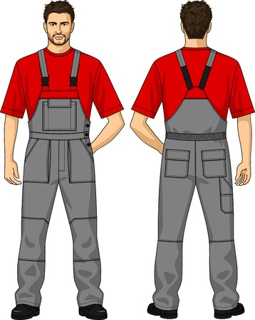 strap: The suit summer for the working man consists of a jacket and overalls